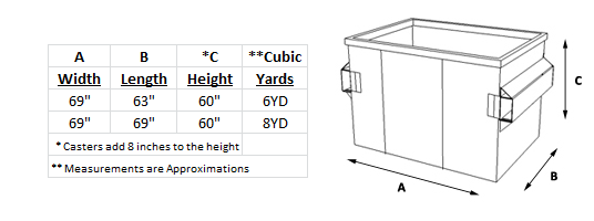 Front Loader Flat Top Container Dimensions